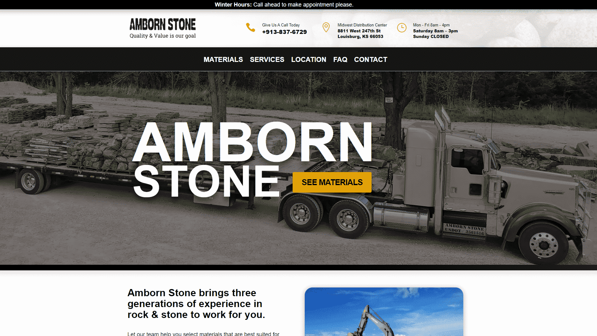 MKS Web Design created the website for Amborn Stone
