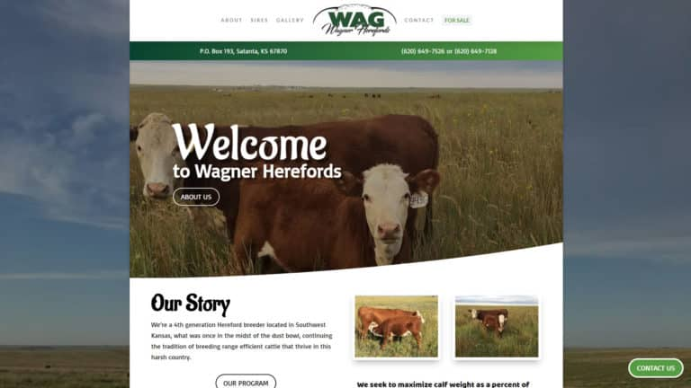 MKS Web Design created the website for Wagner Herefords