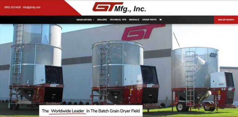 GT MFG Inc website created by MKS Web Design